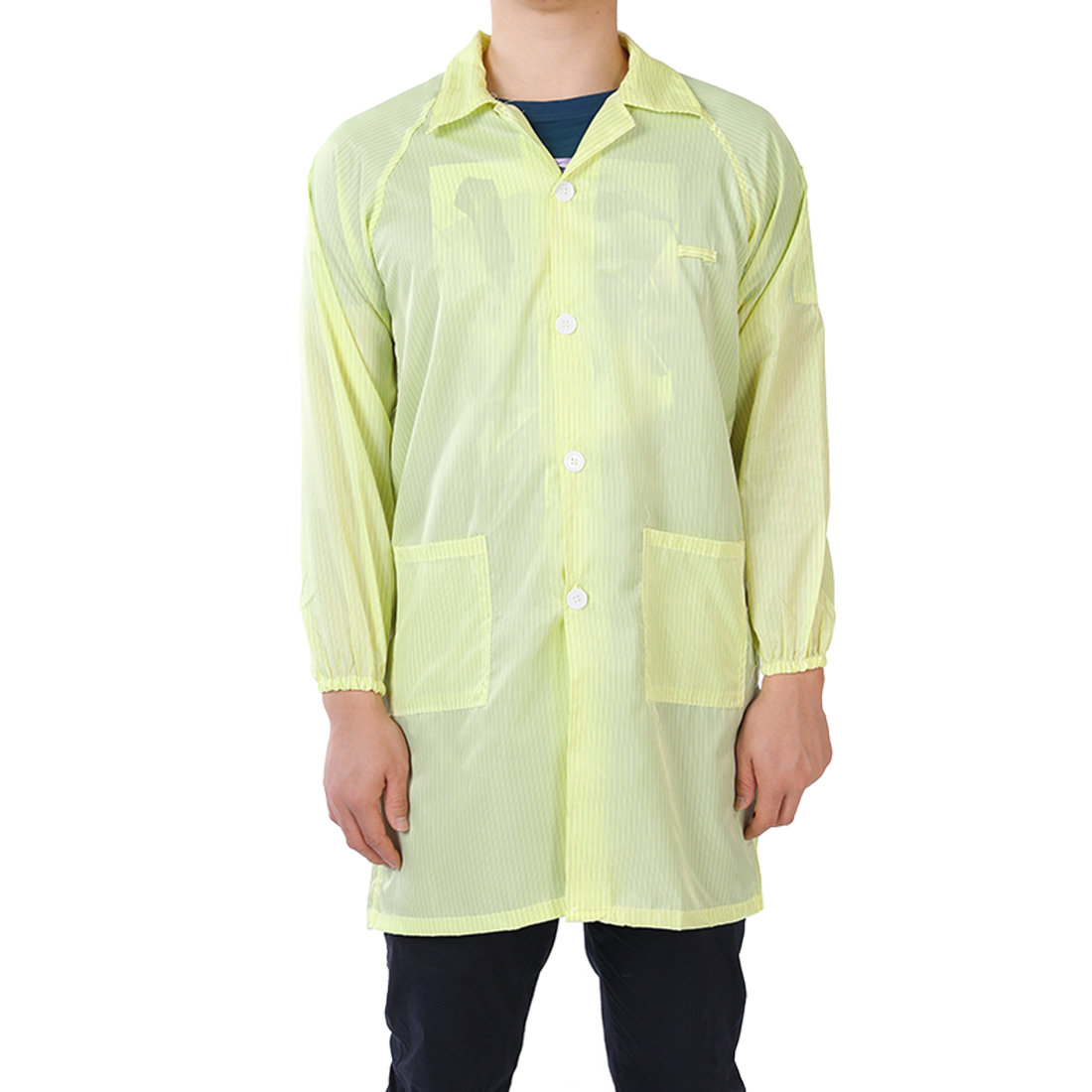 Anti Static Overalls Unisex ESD Lab Coat Button Up M Yellow
