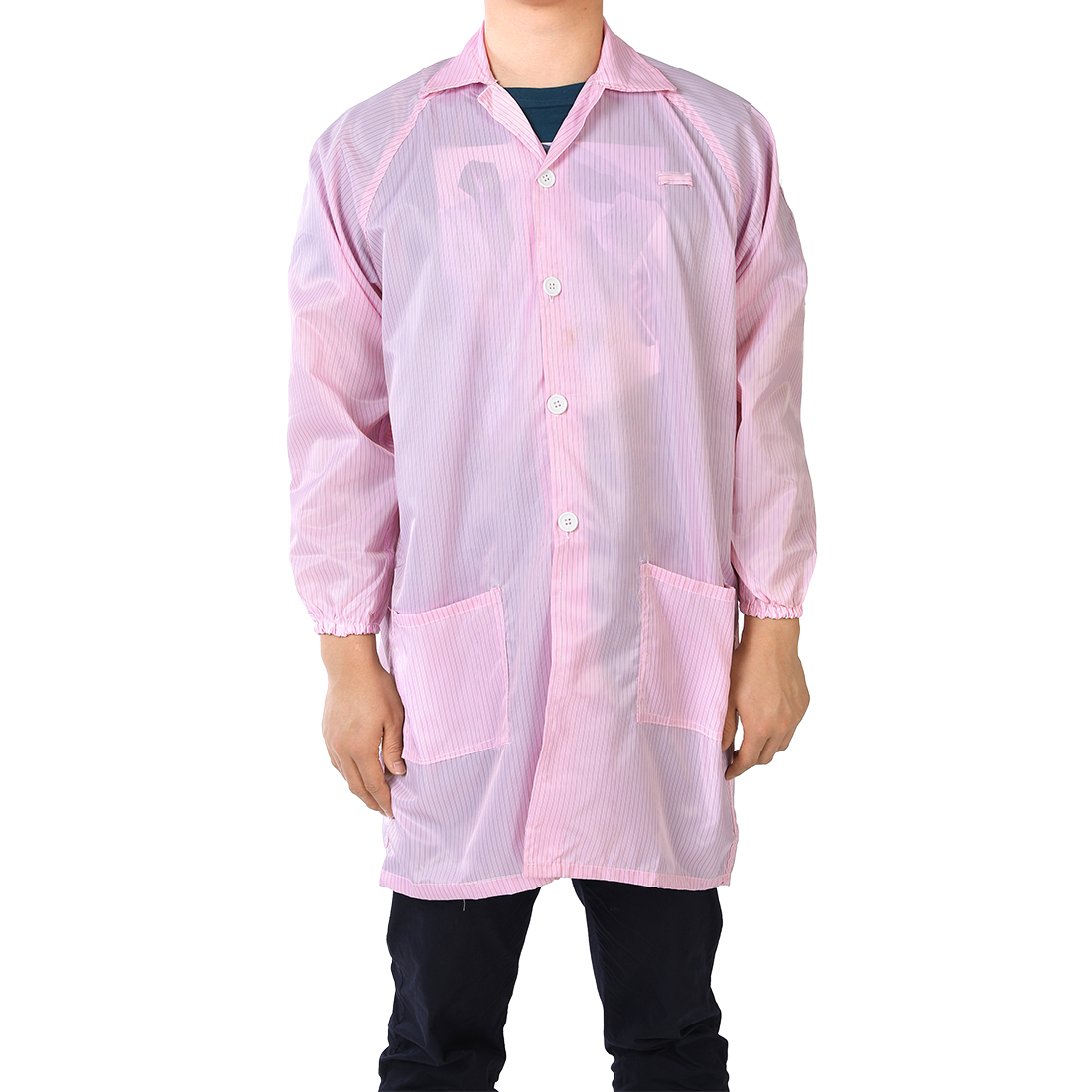 Anti Static Overalls Unisex ESD Lab Coat Button Up L Pink
