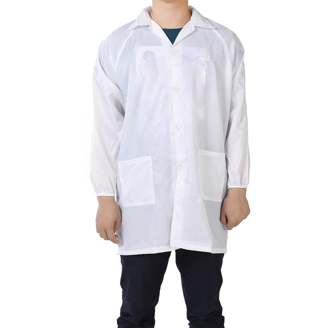 Anti Static Overalls Unisex ESD Lab Coat Button Up M White