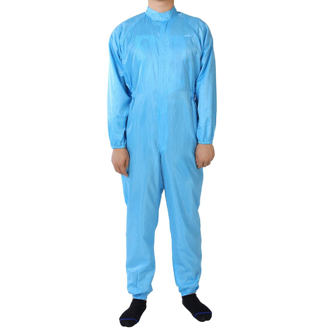 Anti Static Overalls Siamese Unisex ESD Lab Coat Stripes Button Up L Blue