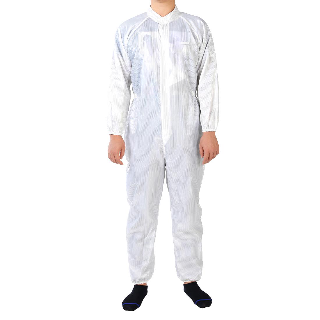 Anti Static Overalls Siamese Unisex ESD Lab Coat Button Up L White