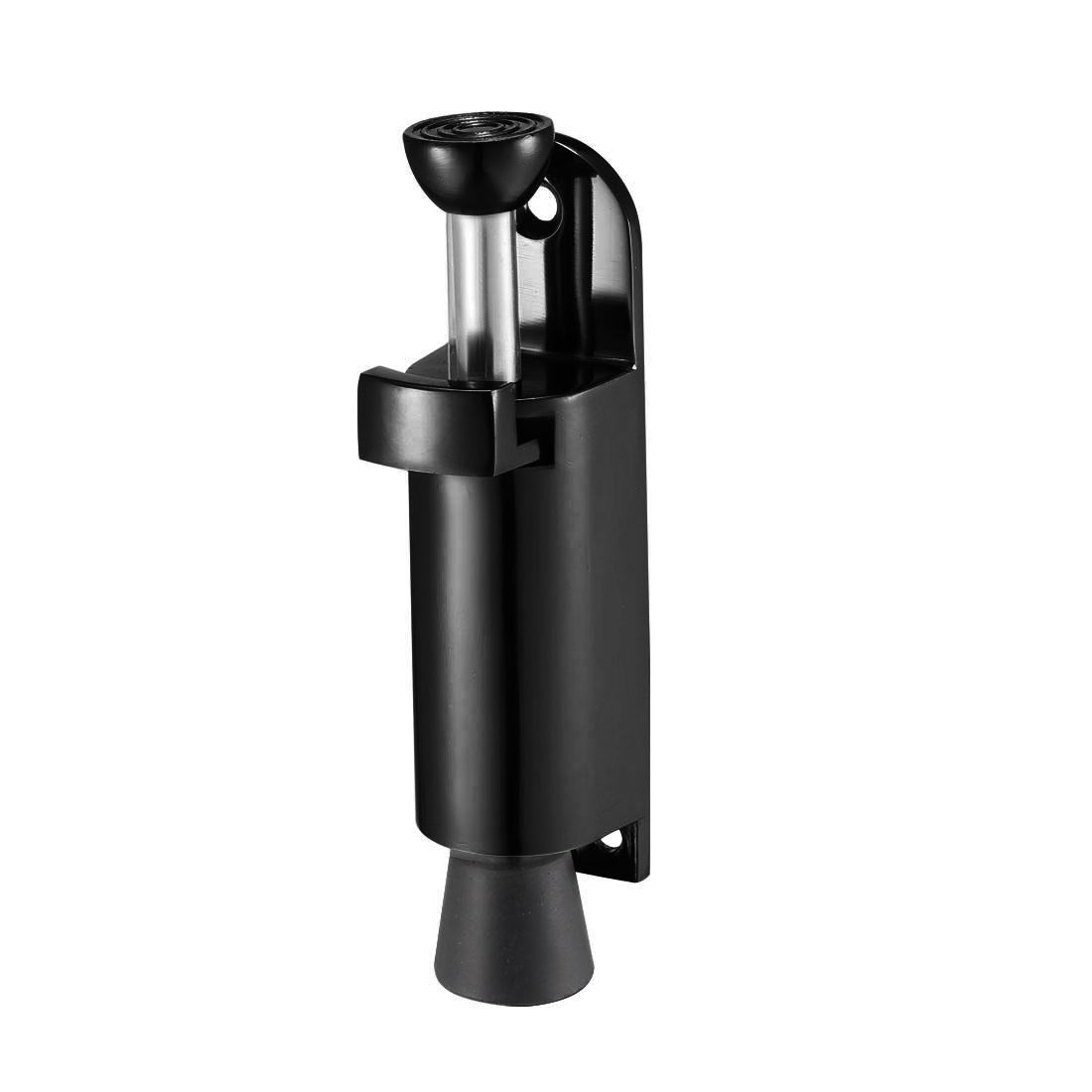 Kickdown Door Stopper Spring Load Foot Pedal Door Stops Holder 112mmL Black