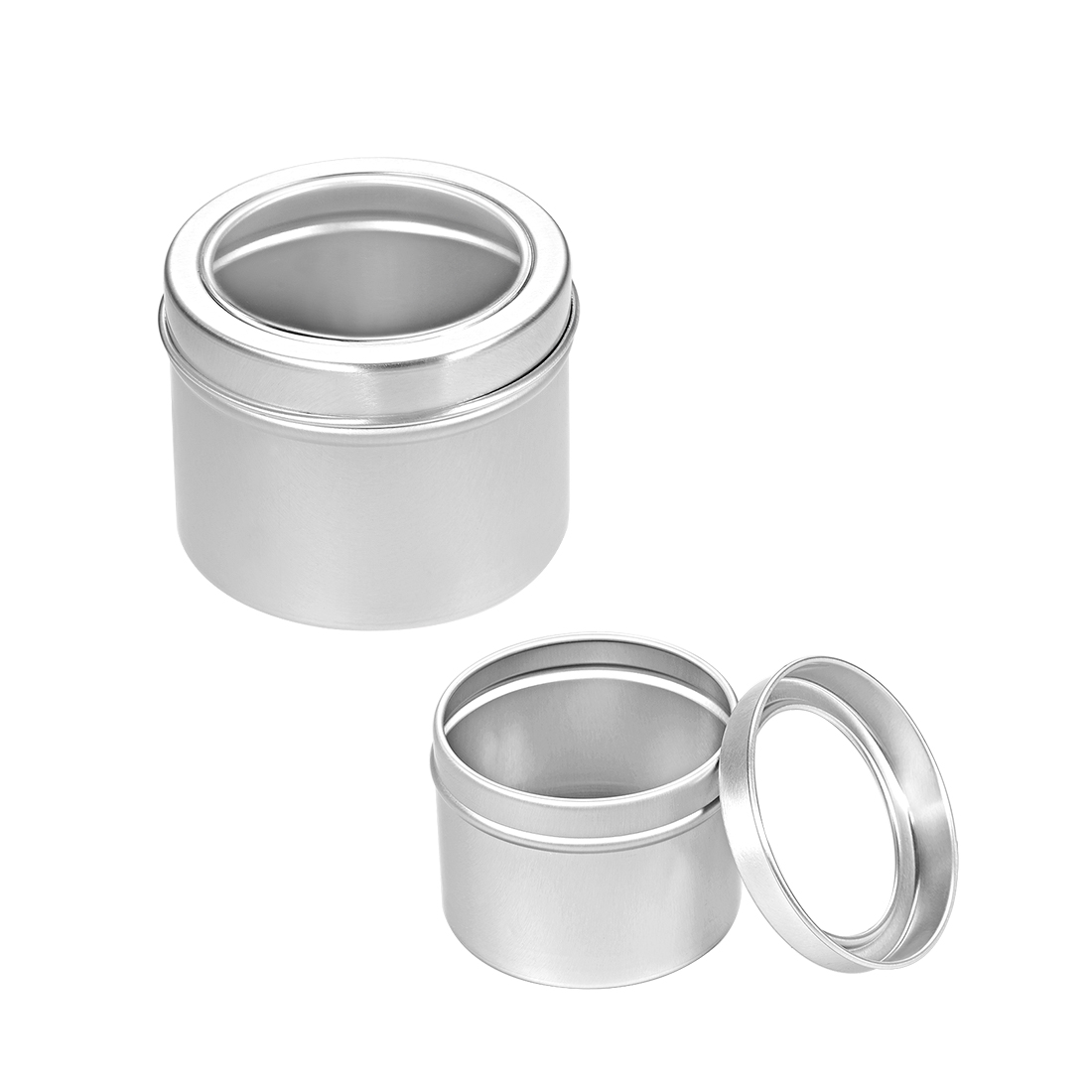 2oz Round Clear Window Aluminum Cans Tin Lid Can Containers 60ml 3pcs