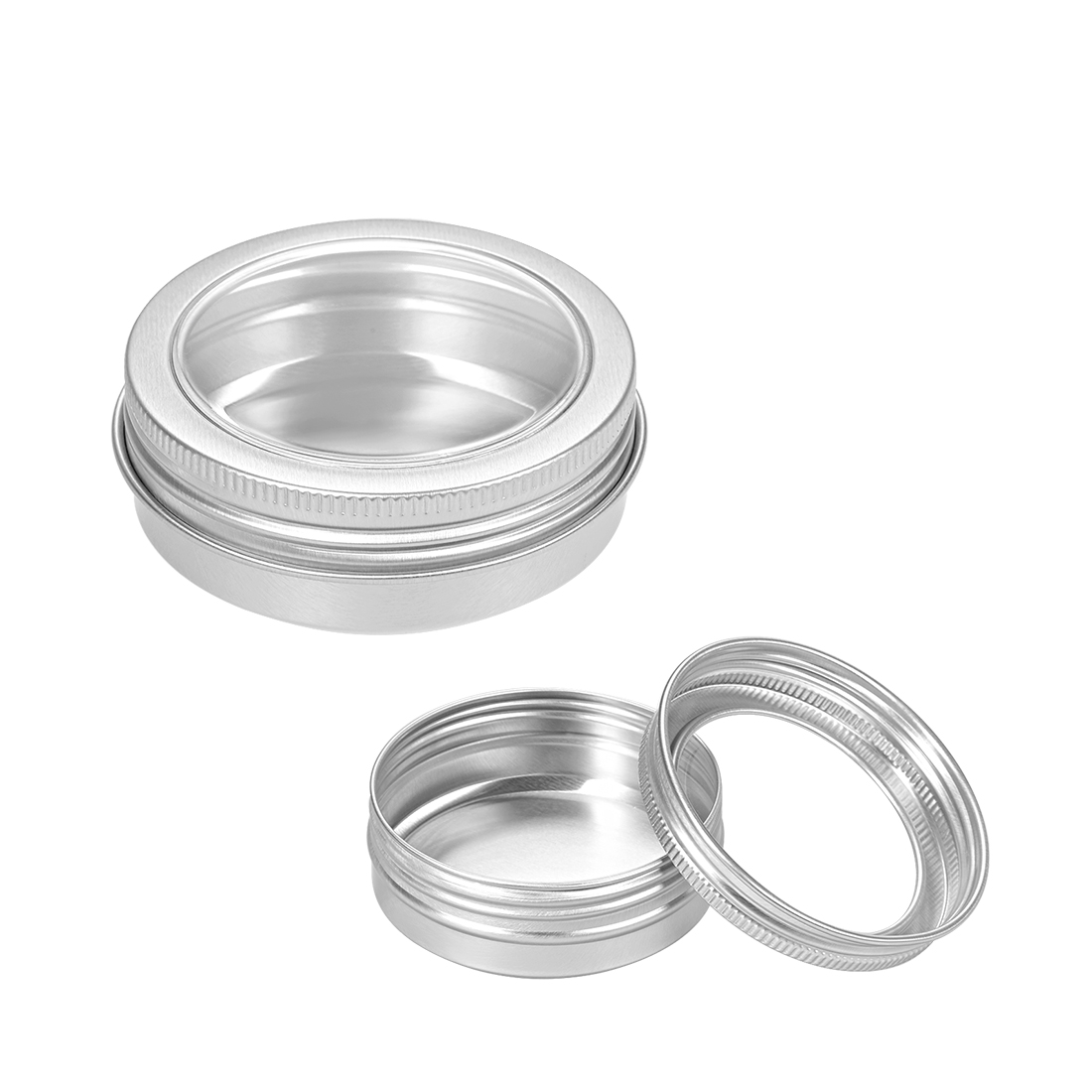 2oz Round Clear Window Aluminum Cans Tin Can Screw Top Lid Containers 60ml 6pcs