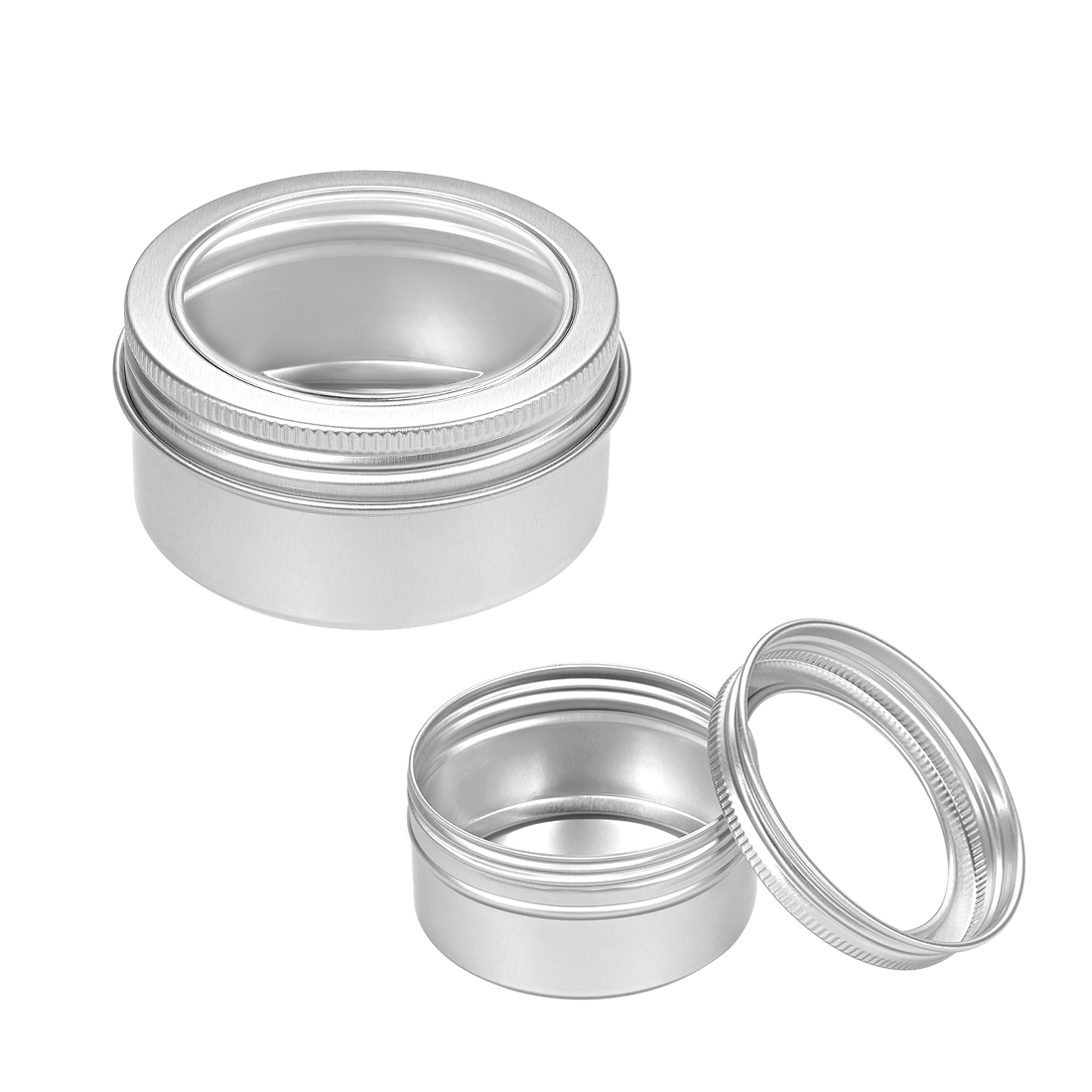 3.4oz Round Clear Window Aluminum Cans Tin Screw Top Lid Containers 100ml 3pcs