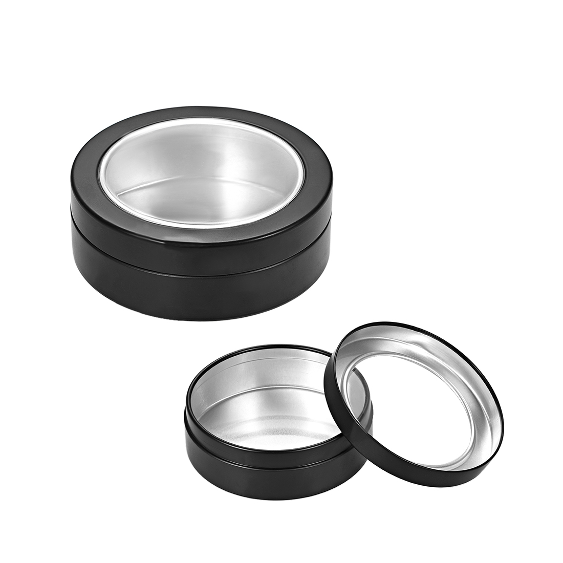 3.4oz Round Clear Window Aluminum Cans Tin Lid Containers 100ml Black 3pcs