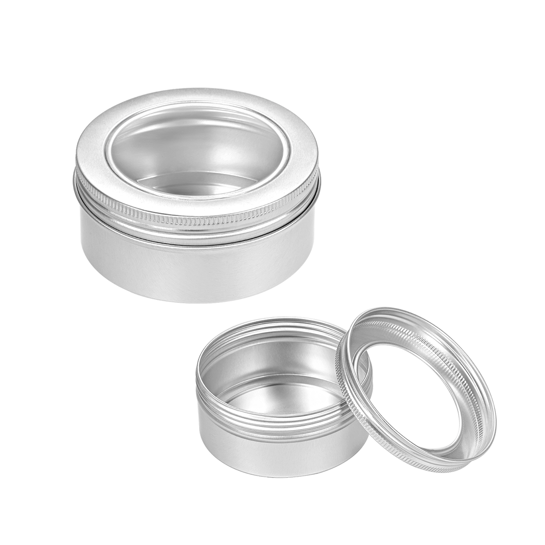 5oz Round Clear Window Aluminum Cans Tin Screw Top Lid Containers 150ml