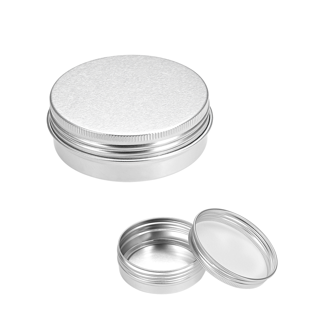 2 oz Round Aluminum Cans Tin Can Screw Top Metal Lid Containers, 60ml, 5pcs