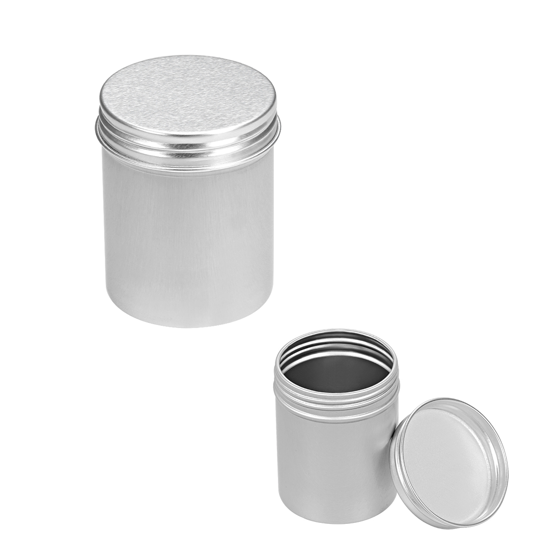 2.7oz Round Aluminum Cans Tin Can Screw Top Metal Lid Containers, 80ml, 6pcs