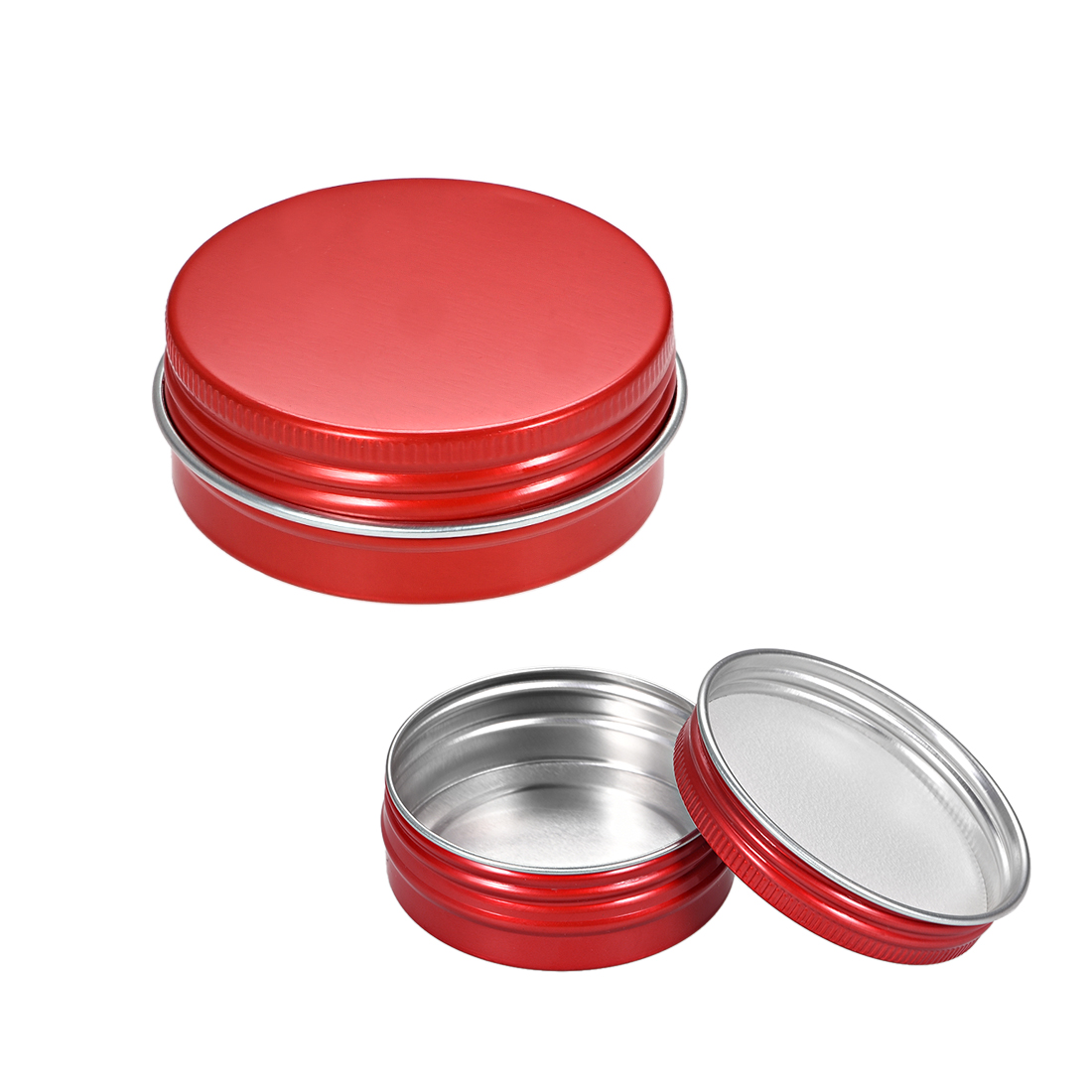 1 oz Round Aluminum Cans Tin Can Screw Top Metal Lid Containers Red 30ml 12pcs