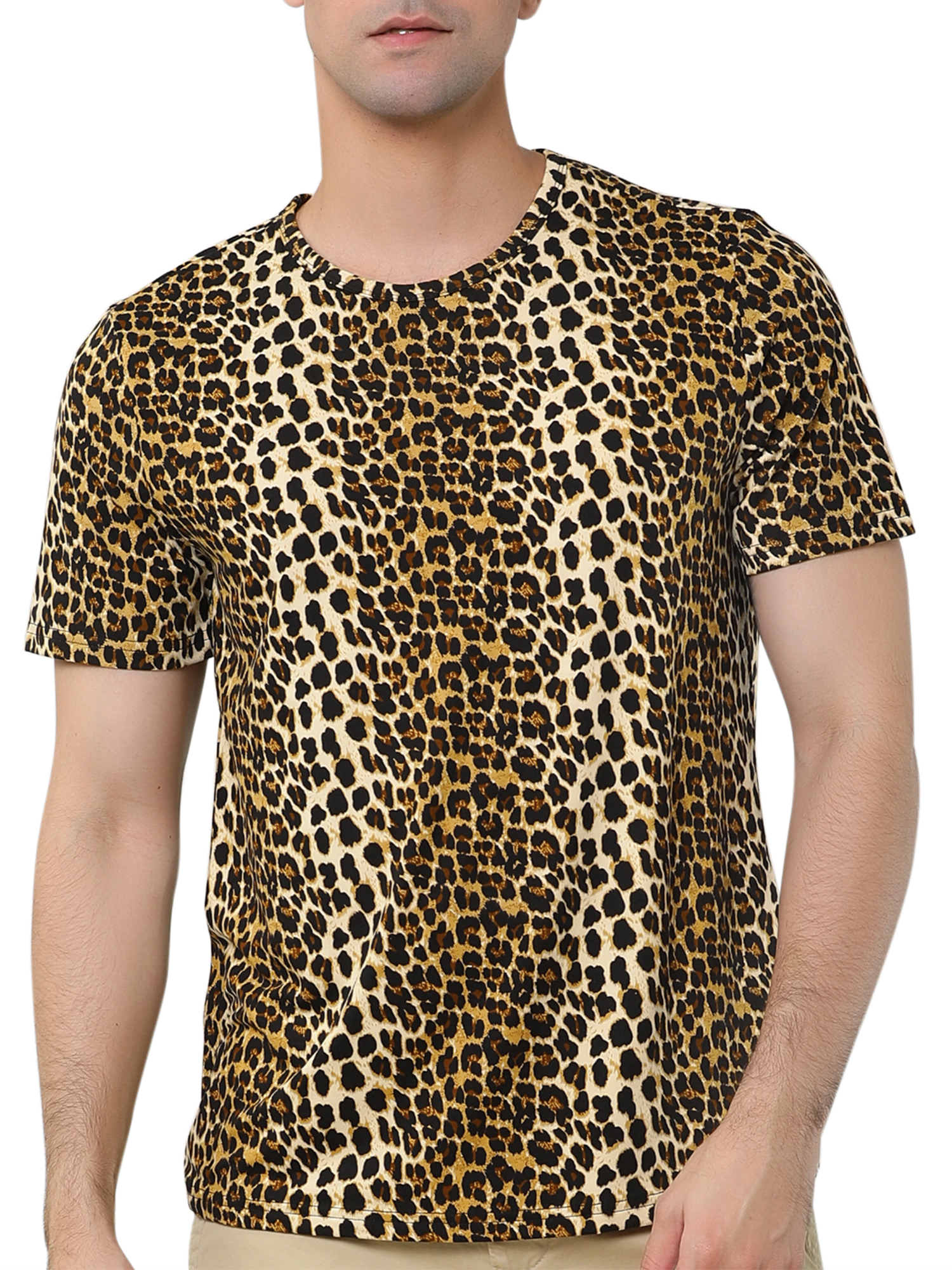 TX07 Mens Stylish Leopard Prints Slim Summer T-shirt Brown/ M (US 38)