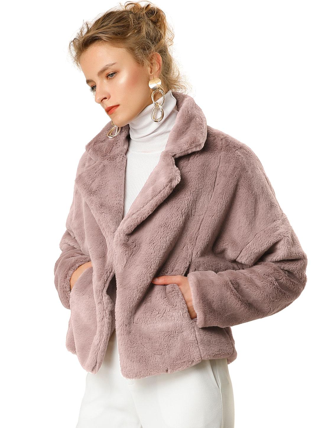 Allegra K Women's Winter Loose Faux Fur Coat Short Crop Jacket Purple Gray L