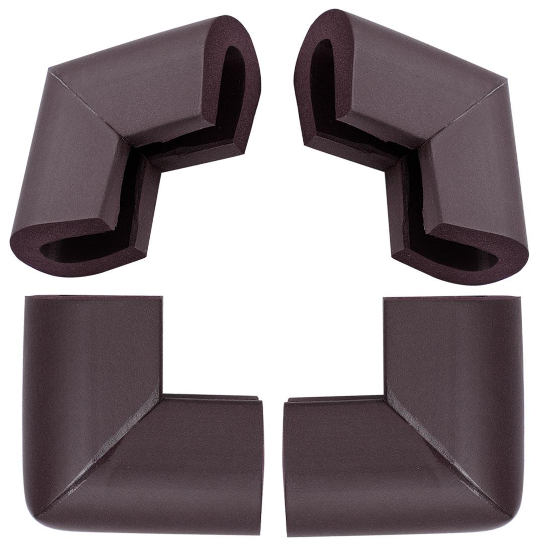 4pcs Edge Foam Corner Cushion Guards Strip Roll Soft Bumper Protector Dark Brown