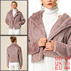 Allegra K Women's Winter Fashion Loose Faux Fur Short Coat Purple Gray L
