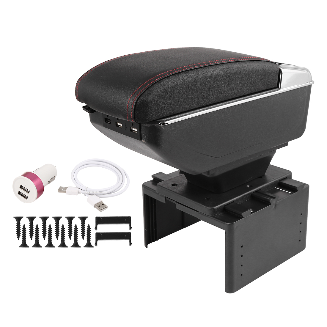 Chargeable Adjustable Double Storage Space Car Central Armrest Box w/ LED 7 USB