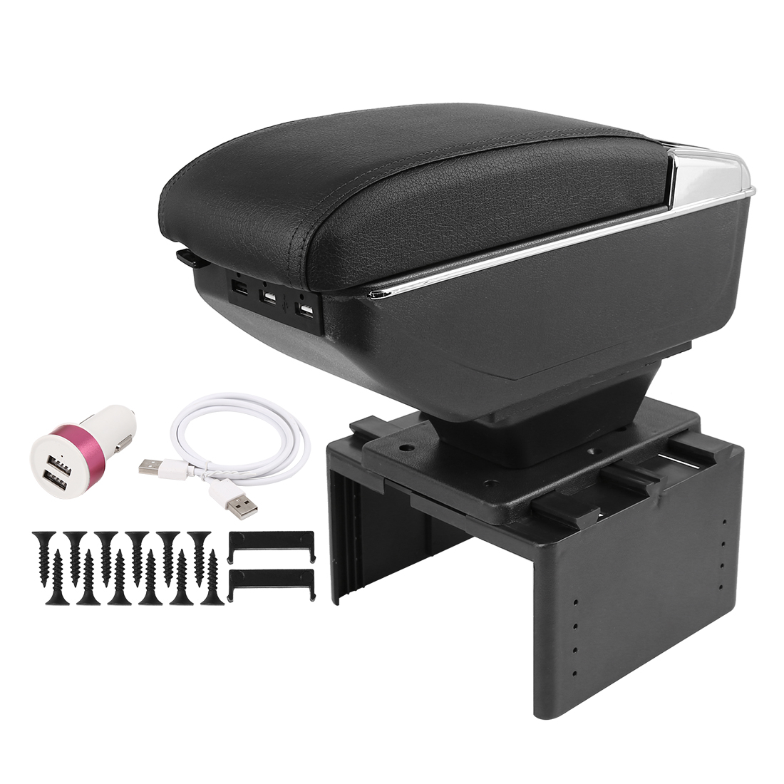 Chargeable Adjustable Double Layer Design Car Central Armrest Box w/ LED 7 USB