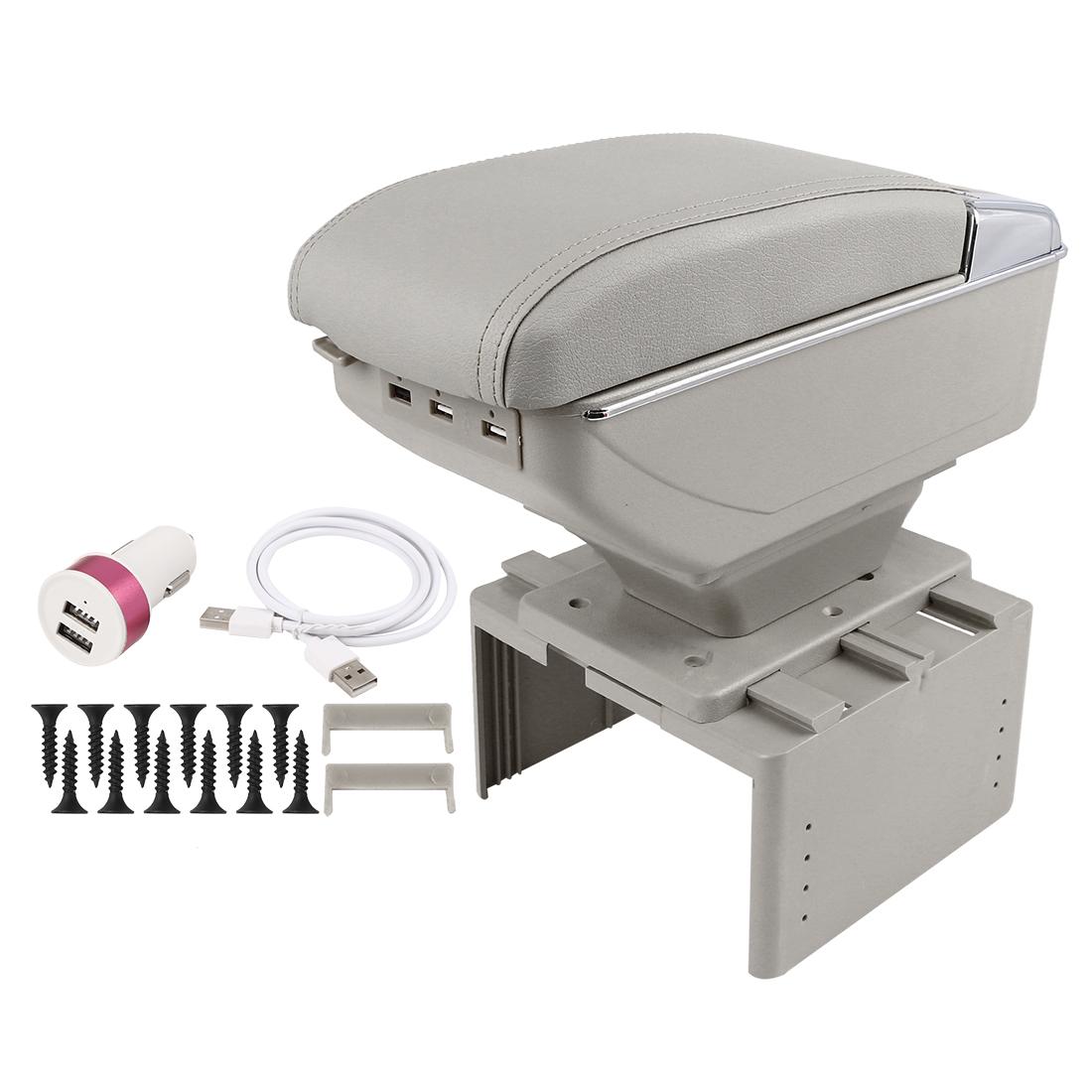 Universal Adjustable Double Layer Design Car Central Armrest Box w/ LED 7 USB