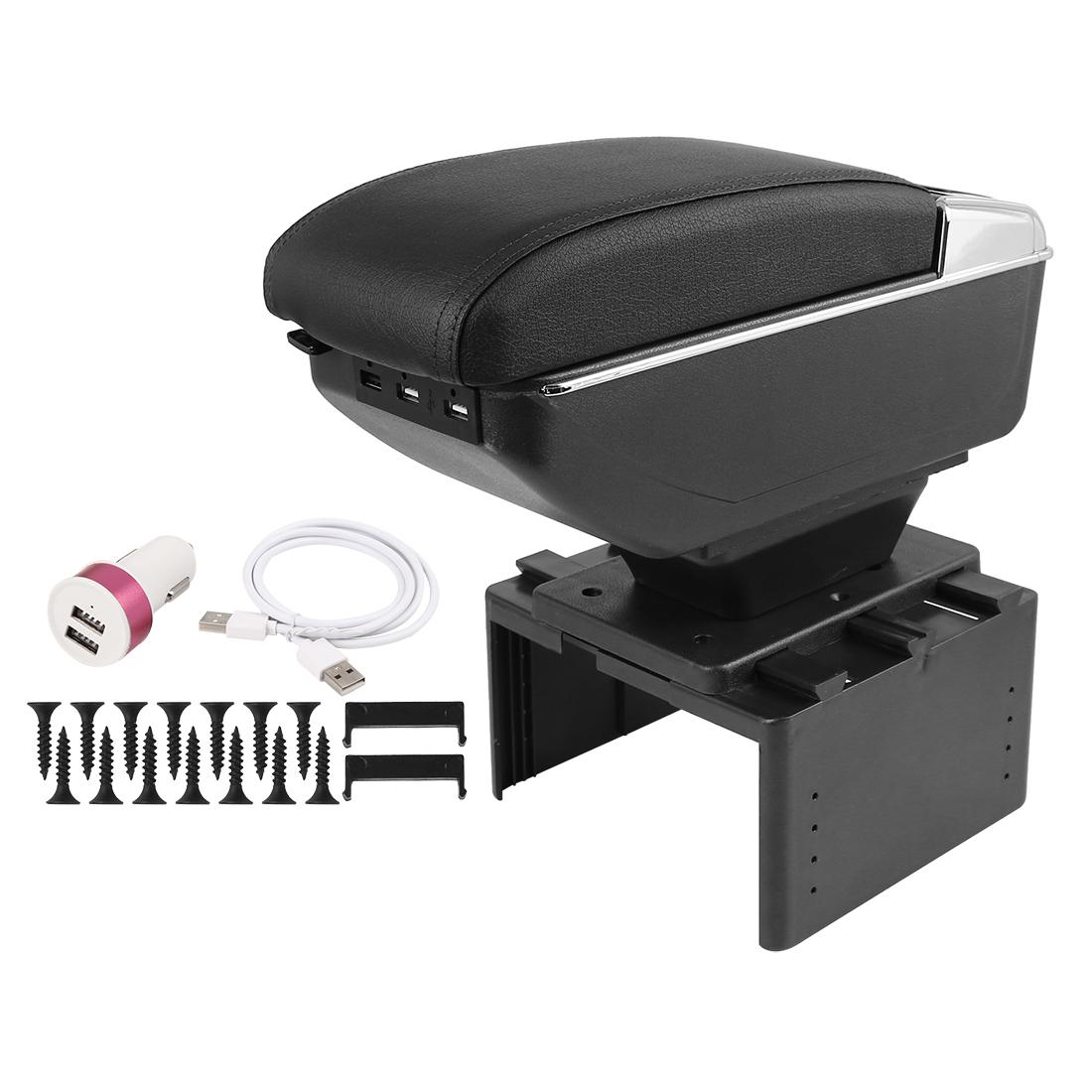 Chargeable Adjustable Single Layer Design Car Central Armrest Box w/ LED 7 USB