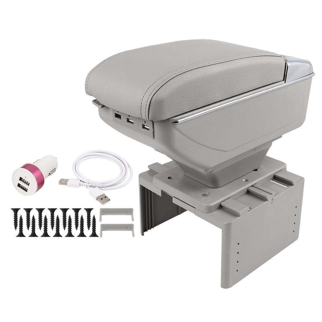 Chargeable Adjustable Single Layer Design Car Center Armrest Box w/ LED 7 USB