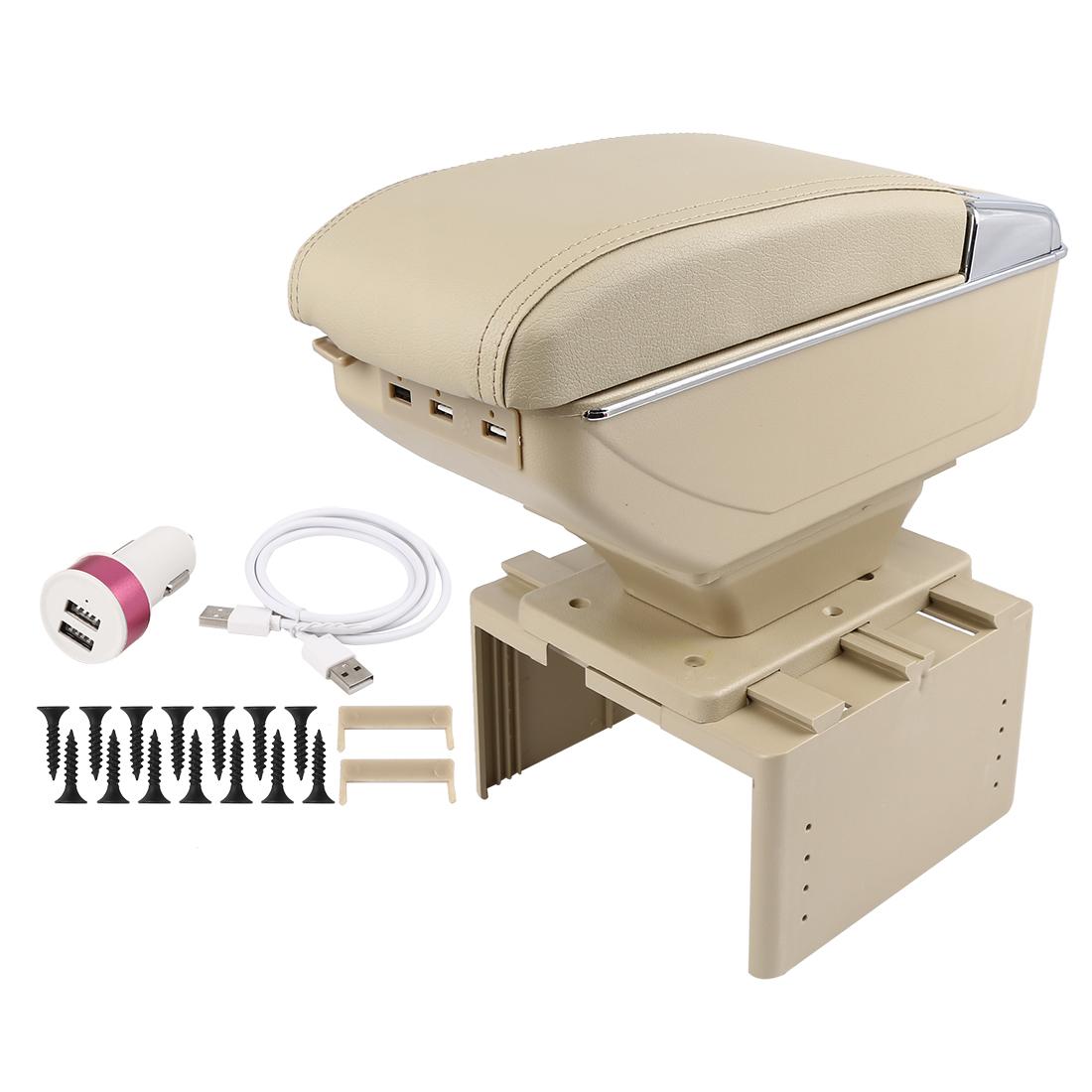 Universal Adjustable Single Layer Design Car Center Armrest Box w/ LED 7 USB