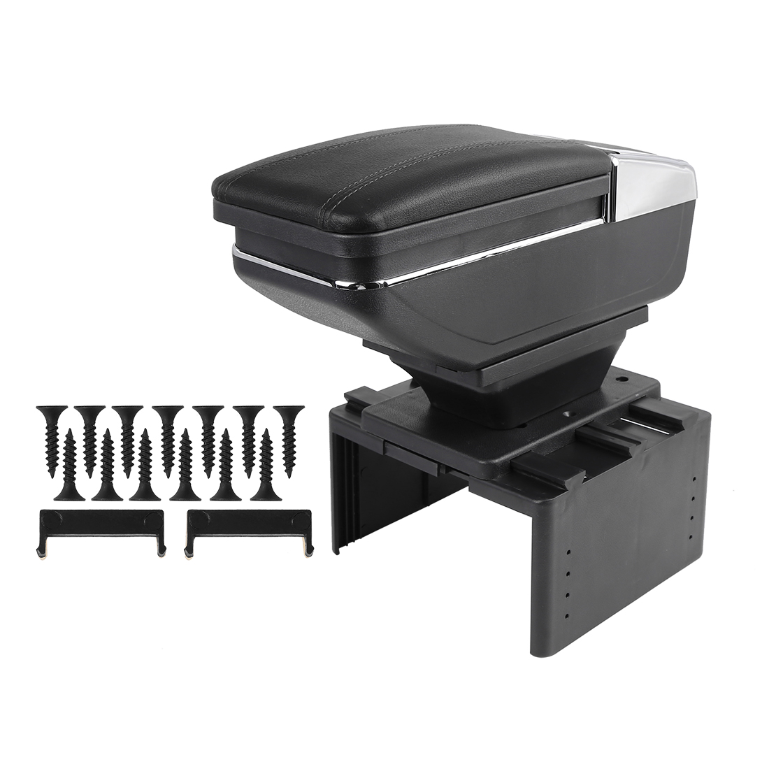 Universal Adjustable Rotatable Single Layer Design Car Center Armrest Box Black
