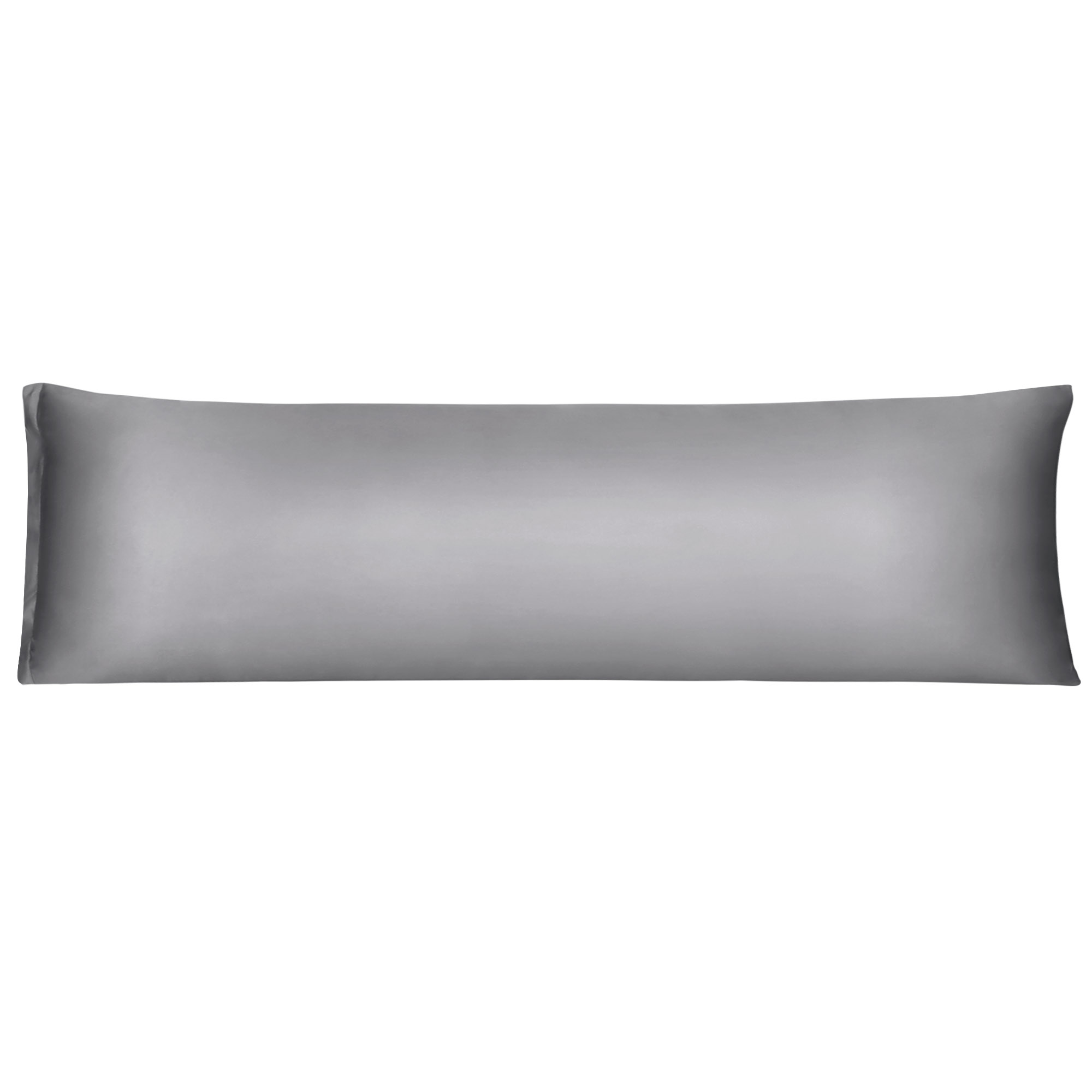 Zippered Grey Silky Satin Body Pillow Cover 21x72 Long Pillow Cases Covers