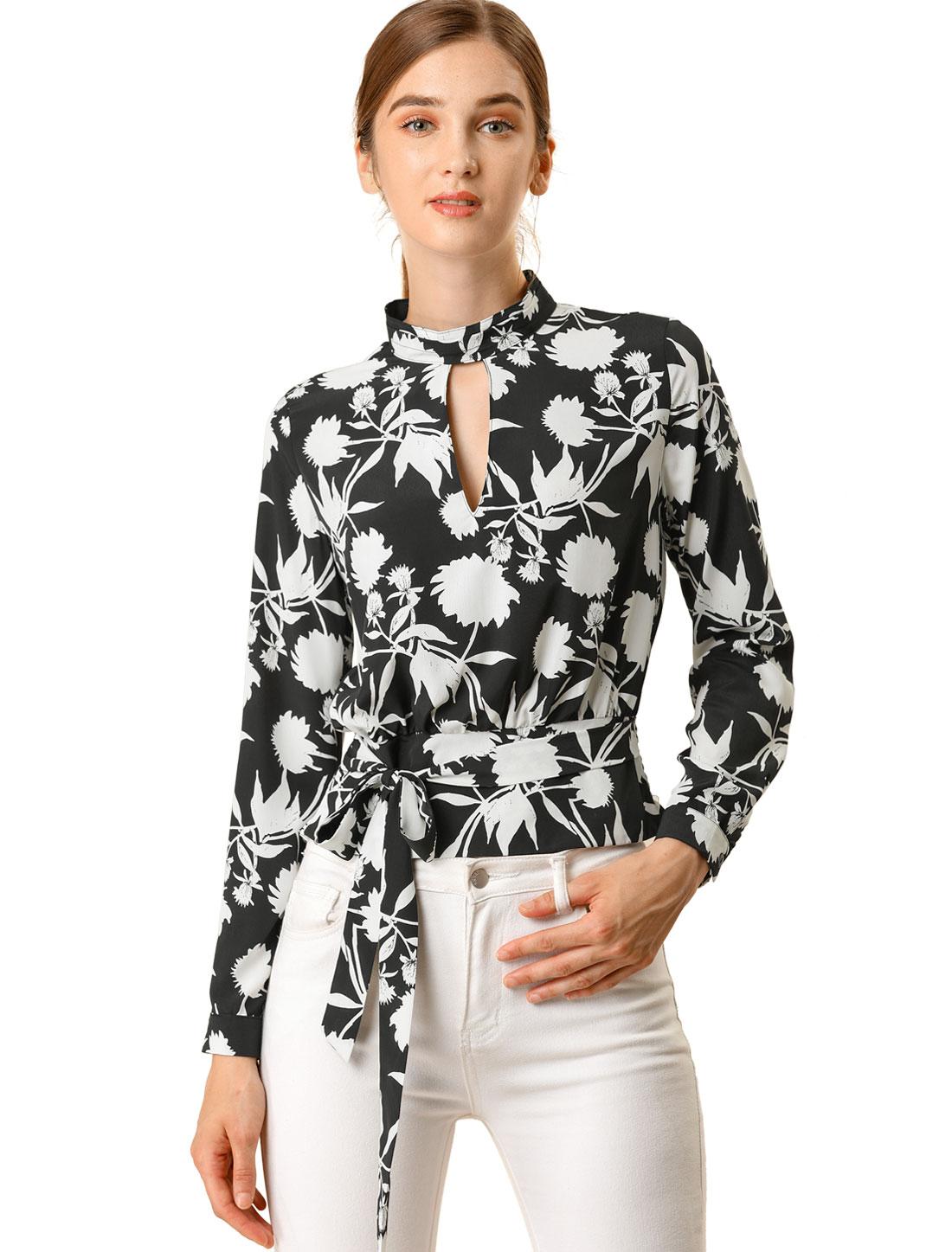 Allegra K Women's Choker V Neck Cropped Floral Blouse Tops Black M