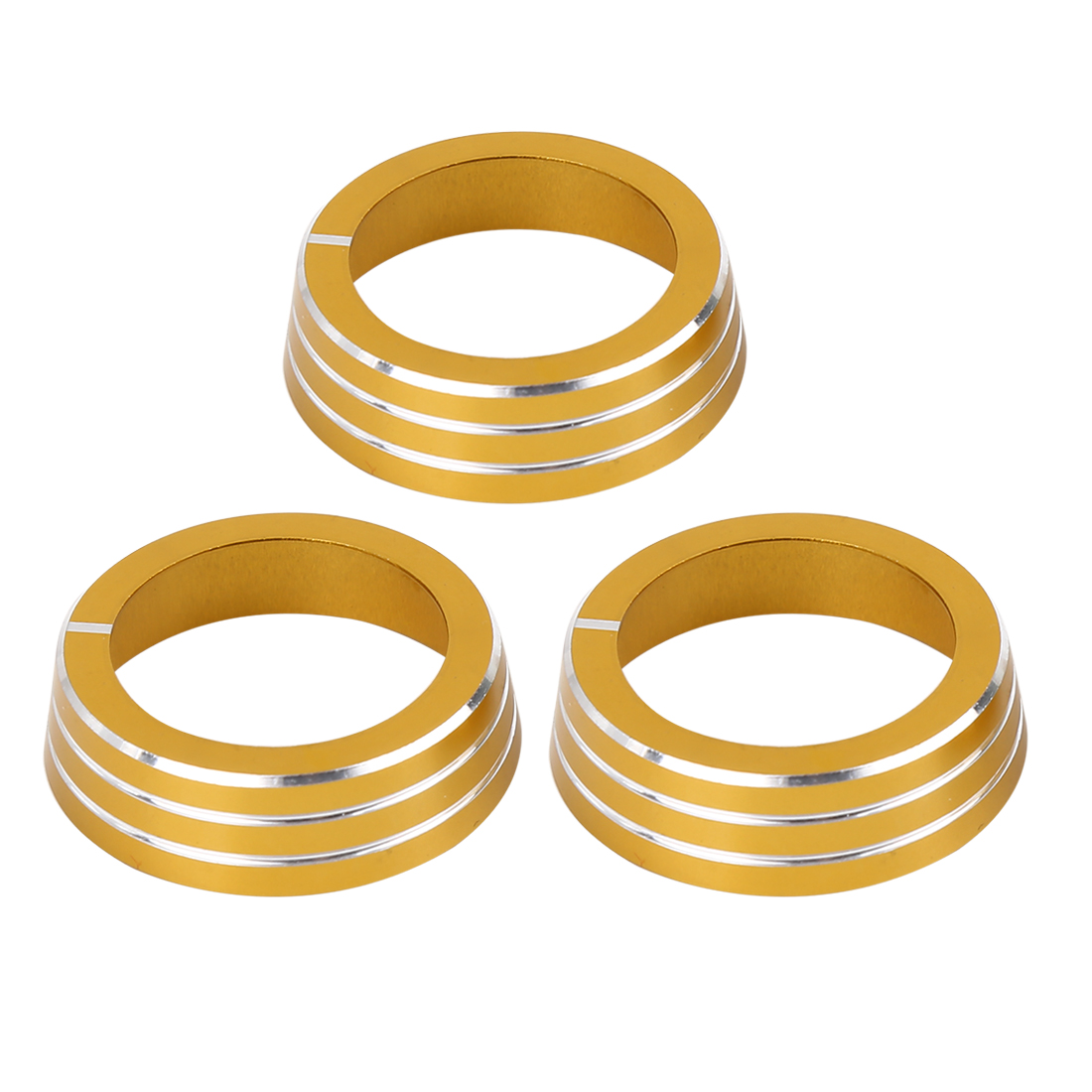 3pcs Gold Tone AC Climate Control Ring Knob Cover Trim for VW MK6 Golf GTI Jetta