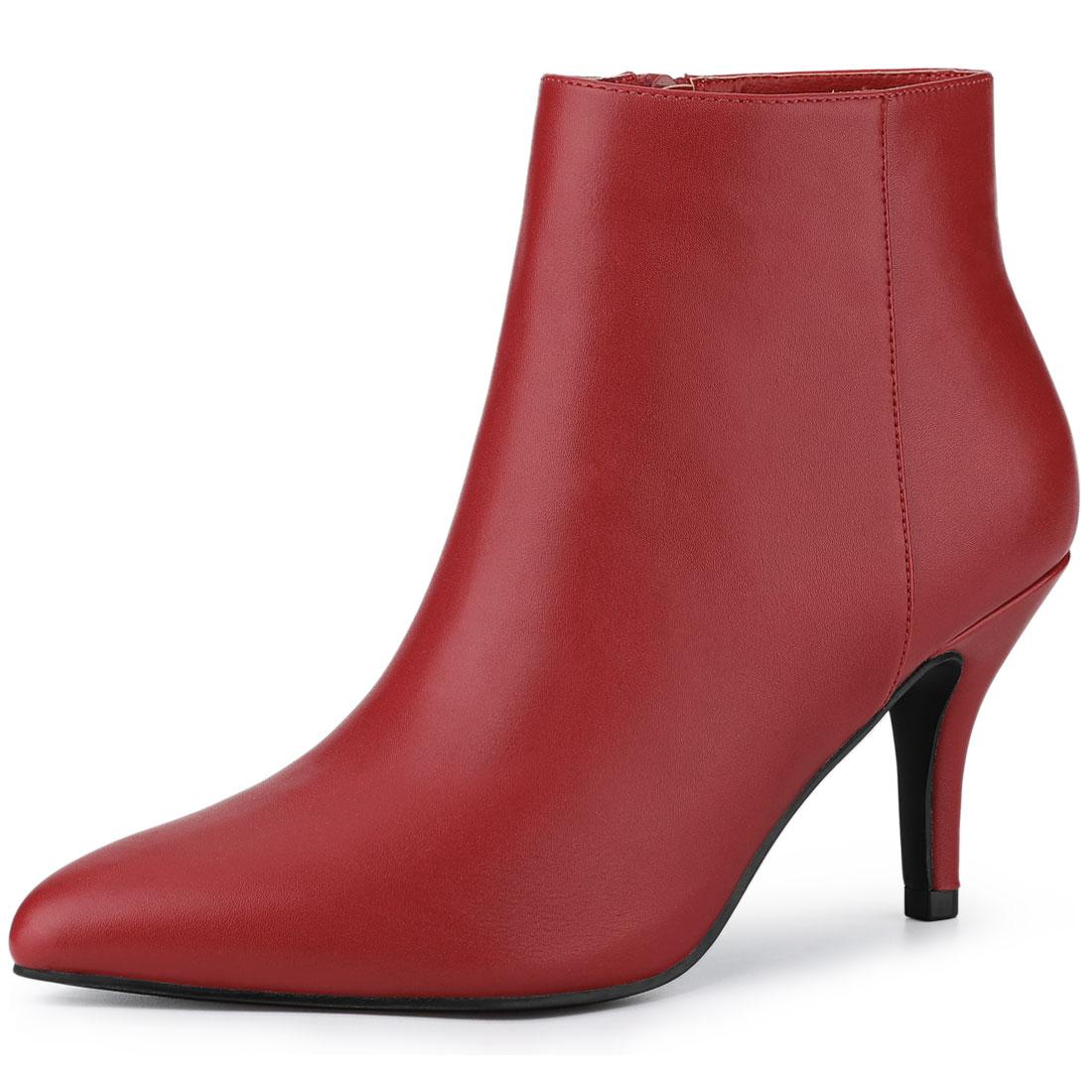 Allegra K Women's Pointed Toe Zipper Stiletto Heel Ankle Boots Red US 9