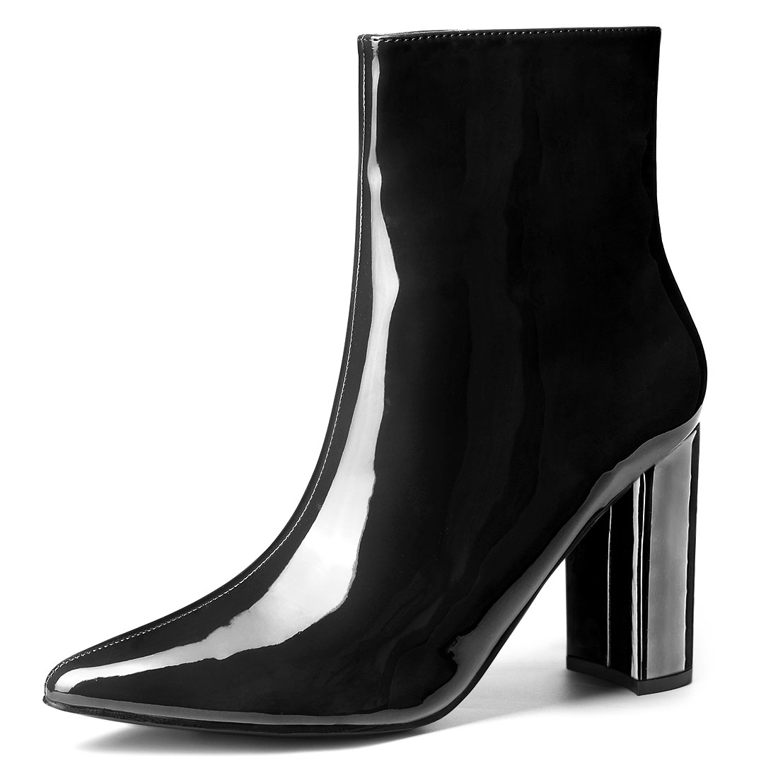 Allegra K Women's Chunky Heel Pointed Toe Zip Ankle Boots Black US 7