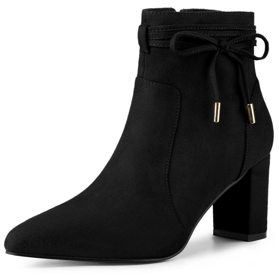 Allegra K Women's Pointed Toe Block Heel Zipper Ankle Boots Black US 7