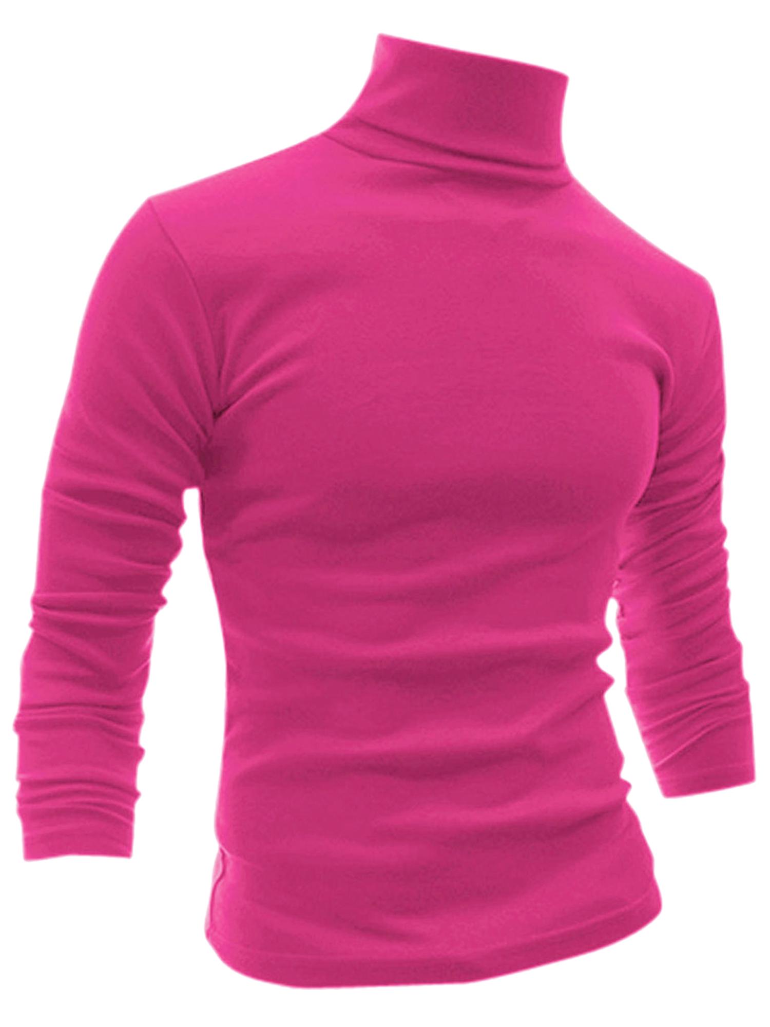 Men Slim Fit Pullover Tops Turtleneck T-shirt Rose Red L L (US 42)