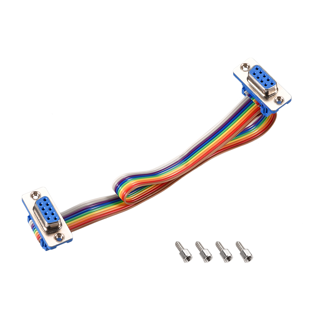 IDC Rainbow Wire Flat Ribbon Cable DB9 F/F Connector 2.54mm Pitch 11.8inch Long