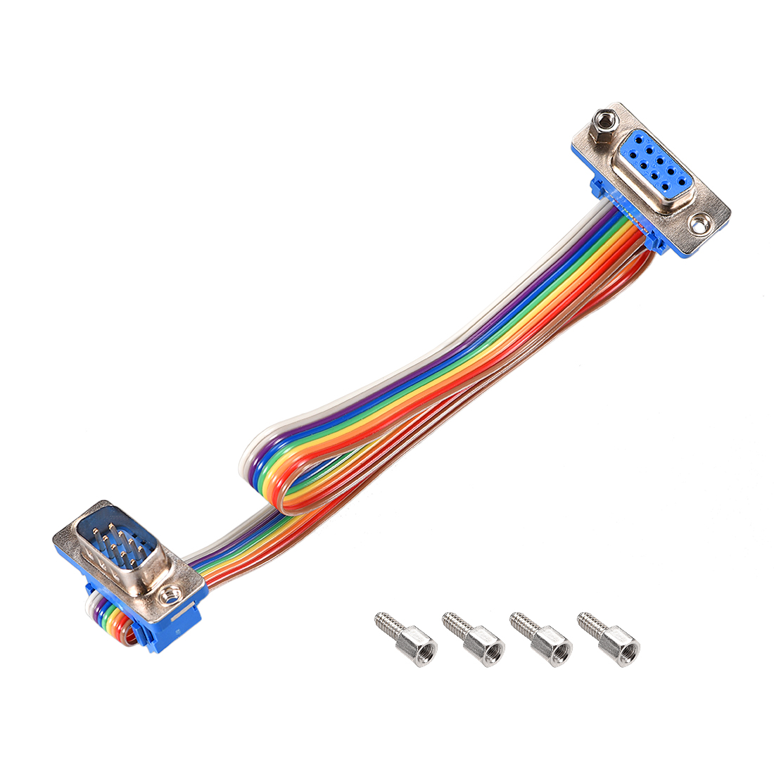 IDC Rainbow Wire Flat Ribbon Cable DB9 M/F Connector 2.54mm Pitch 11.8inch Long
