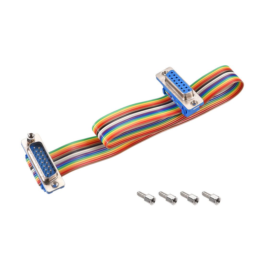 IDC Rainbow Wire Flat Ribbon Cable DB15 M/F Connector 2.54mm Pitch 11.8inch Long