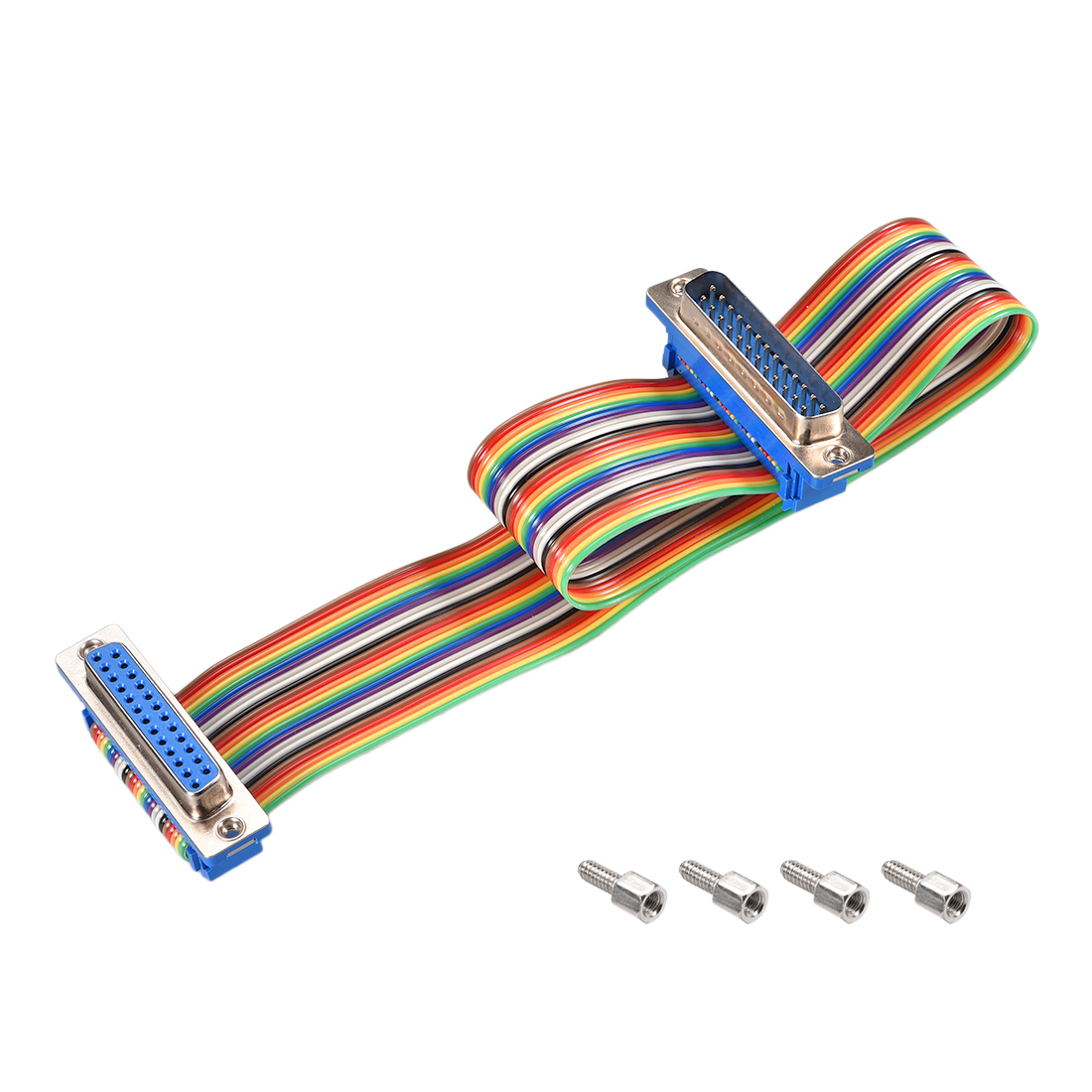 IDC Rainbow Wire Flat Ribbon Cable DB25 M/F Connector 2.54mm Pitch 11.8inch Long
