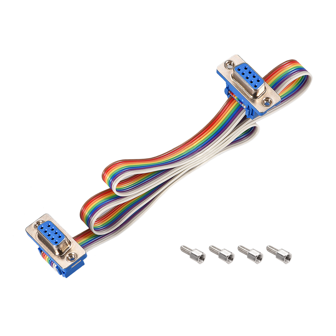 IDC Rainbow Wire Flat Ribbon Cable DB9 F/F Connector 2.54mm Pitch 19.7inch Long