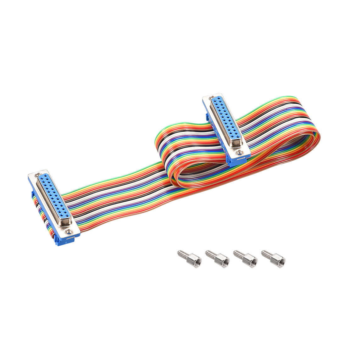 IDC Rainbow Wire Flat Ribbon Cable DB25 F/F Connector 2.54mm Pitch 19.7inch Long