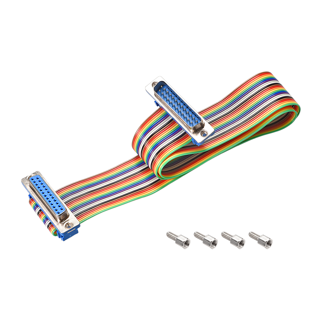 IDC Rainbow Wire Flat Ribbon Cable DB25 M/F Connector 2.54mm Pitch 19.7inch Long