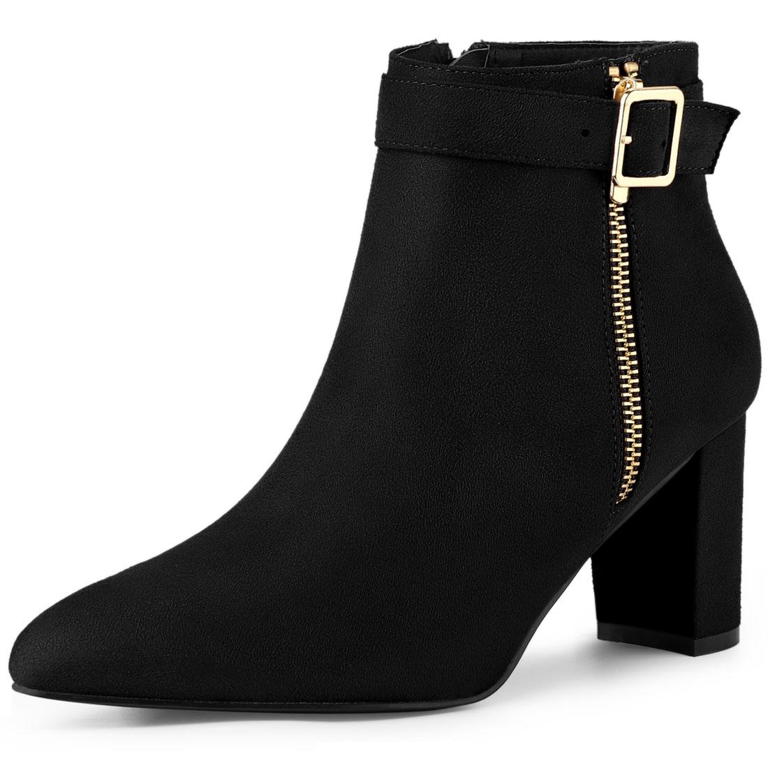 Allegra K Women's Pointed Toe Buckle Chunky Heel Ankle Booties Black US 10