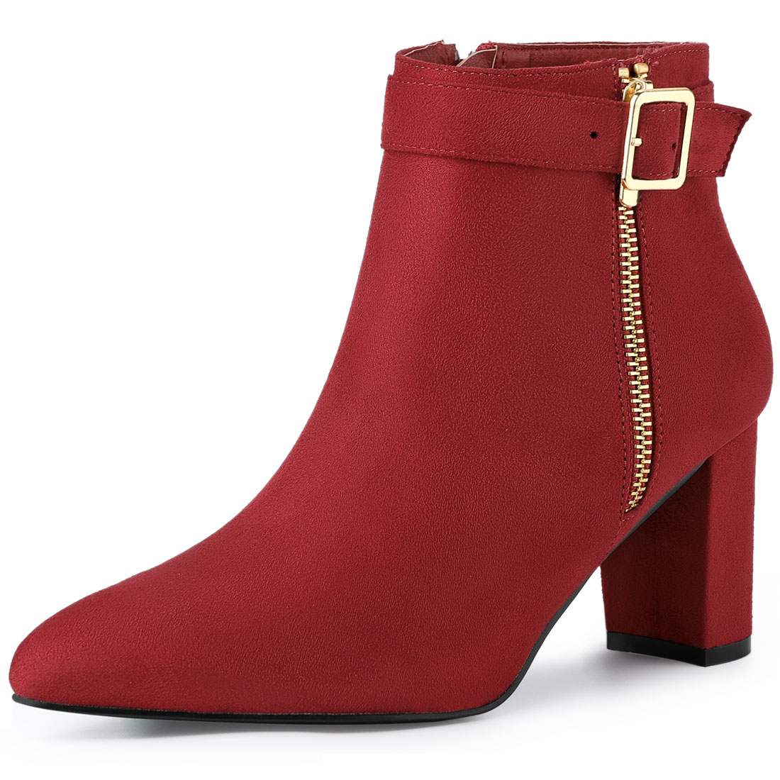 Allegra K Women's Pointed Toe Buckle Chunky Heel Ankle Booties Red US 5.5