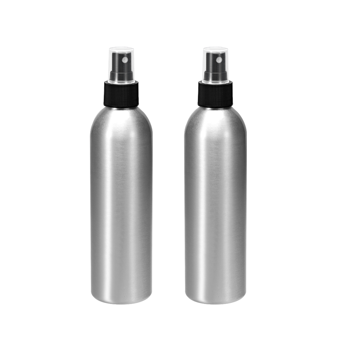 2pcs 8.5oz/250ml Aluminium Spray Bottle with Black Sprayer, Refillable Container
