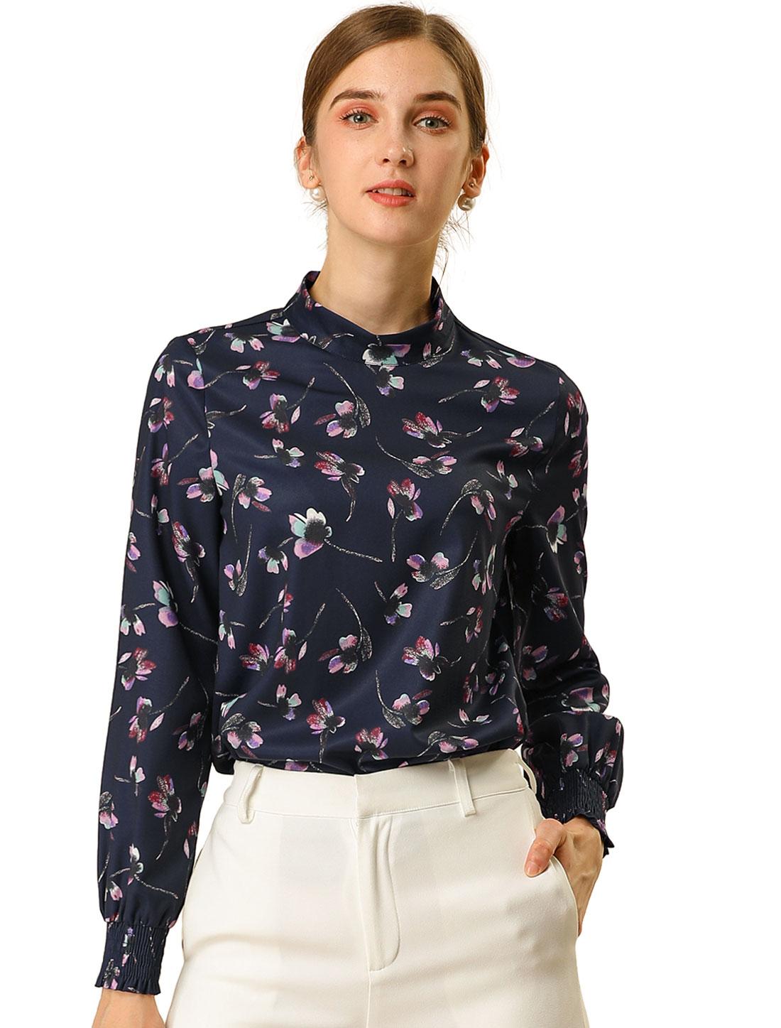 Allegra K Women's Floral Print Mock Neck Long Sleeve Blouse Dark Blue XL