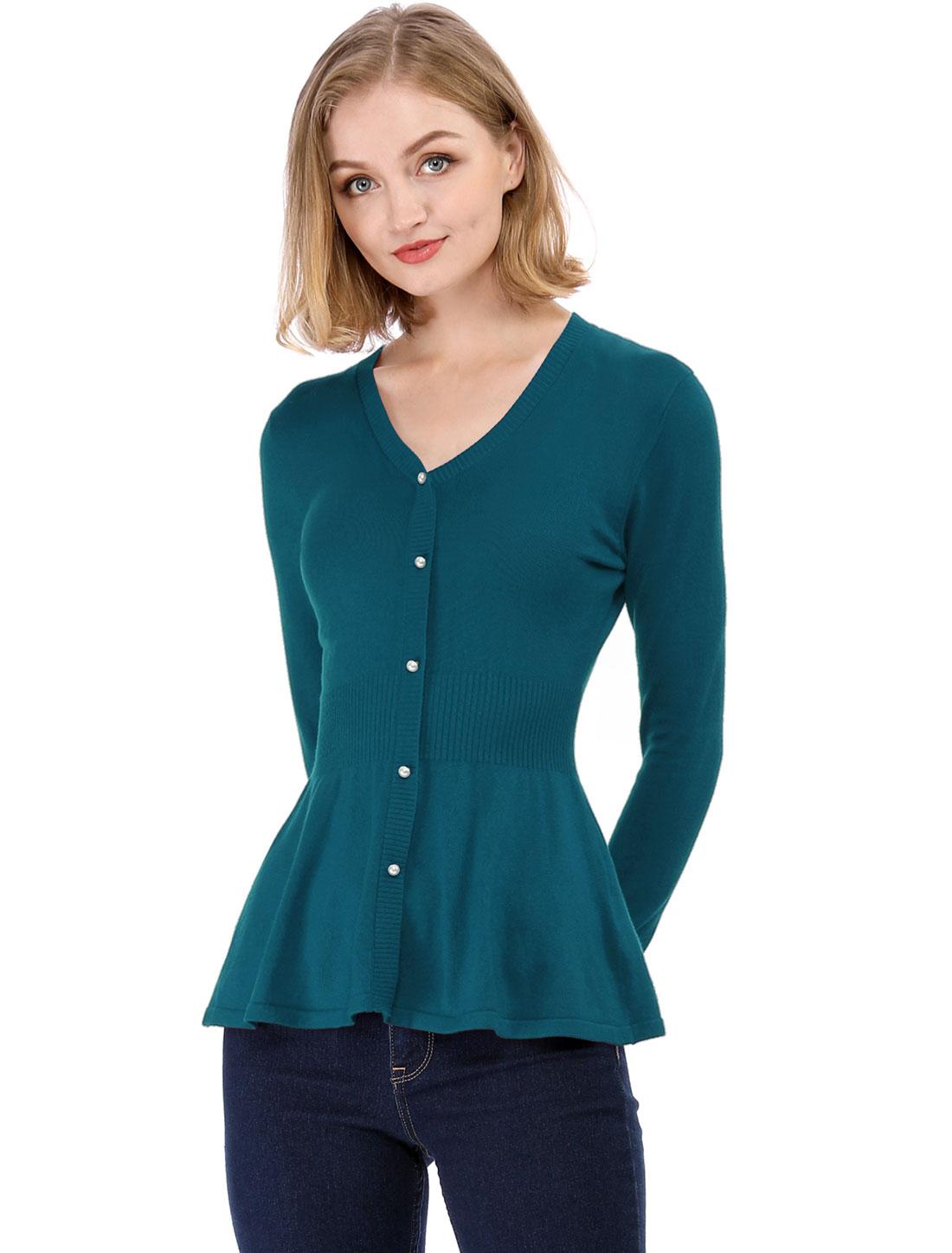 Women's Peplum Sweater Smocked Long Sleeve Knit Tops Blue Green M