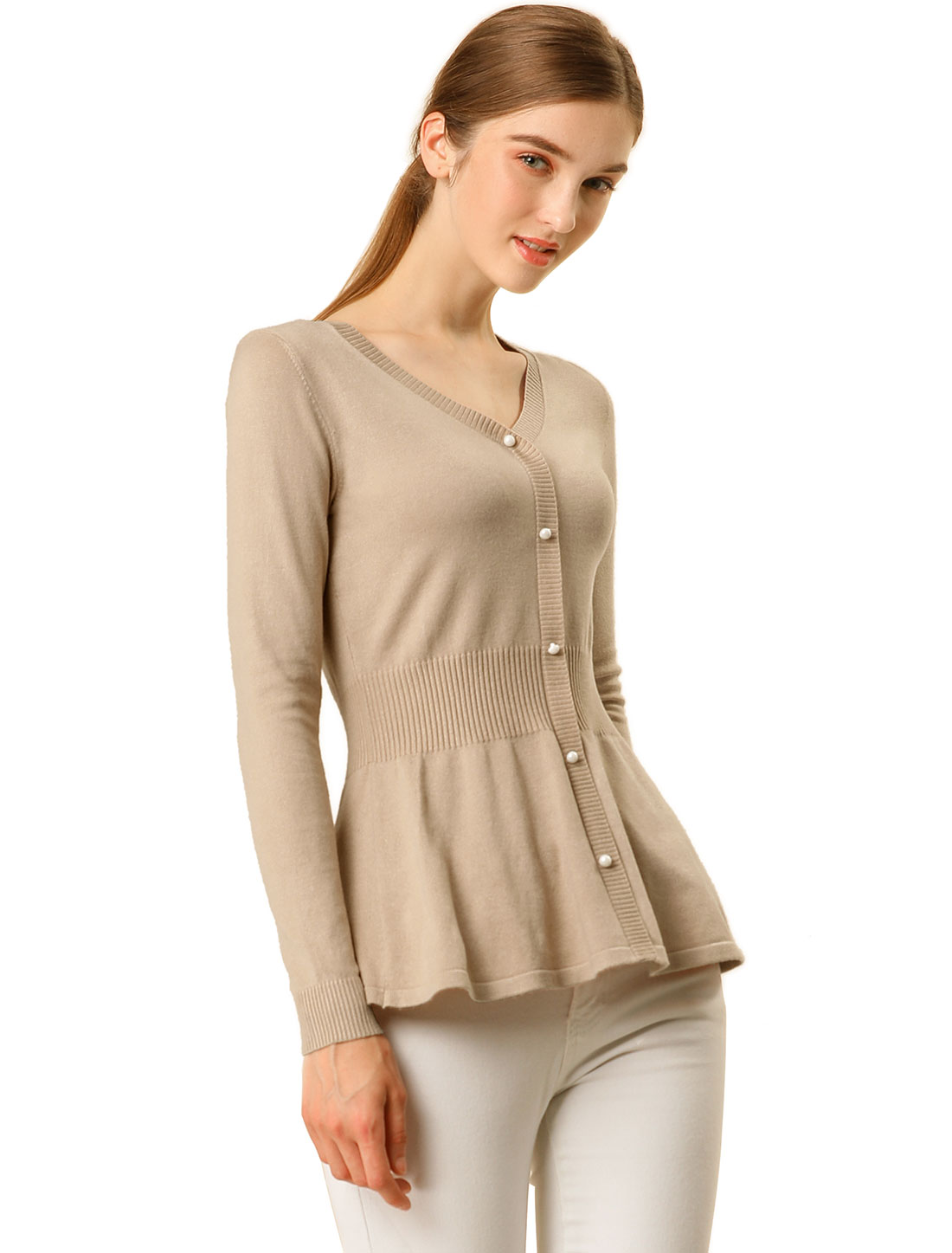 Women's Peplum Sweater Smocked Long Sleeve Knit Tops Dark Beige M