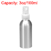 3oz/100ml Aluminium Spray Bottle with Clear Sprayer Empty Refillable Container