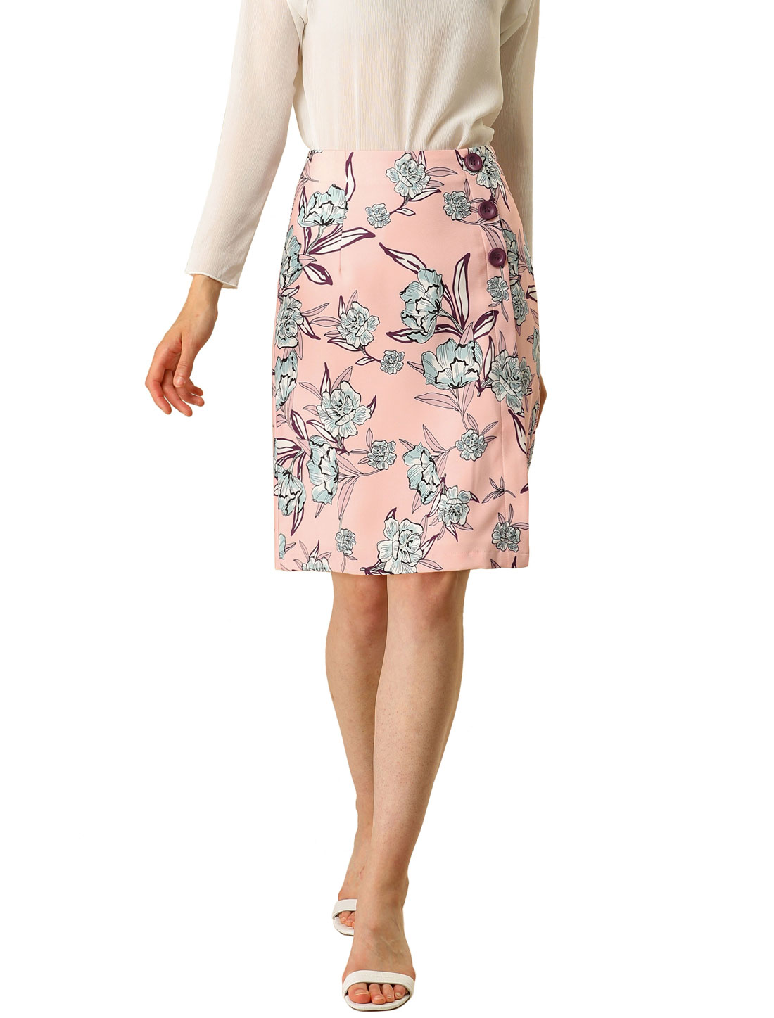 Allegra K Women's Work Elegant Floral Button Decor High Waist Skirt Pink M