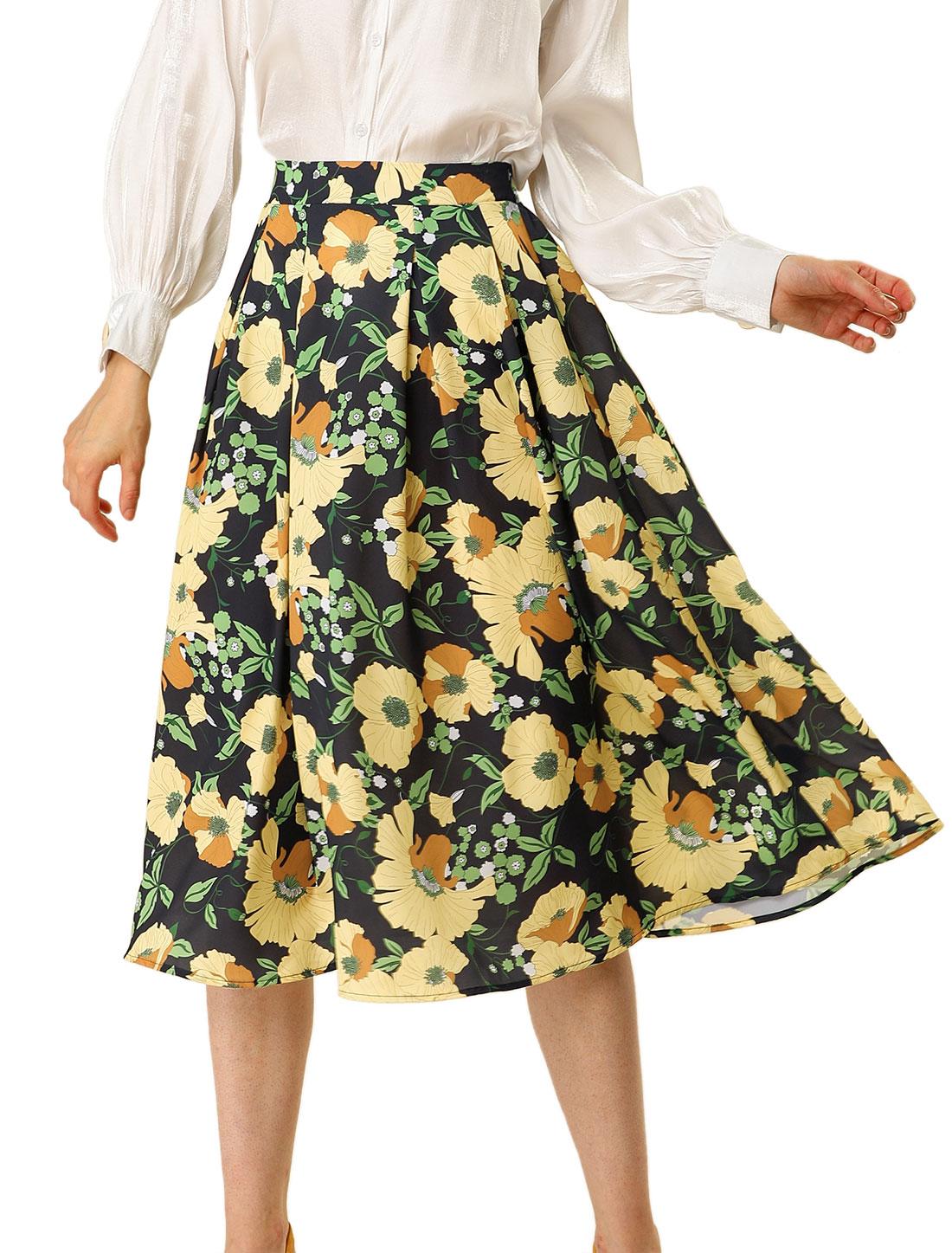 Allegra K Women's Swing Elastic Waist Pleated Midi Floral Skirt Black Yellow XL