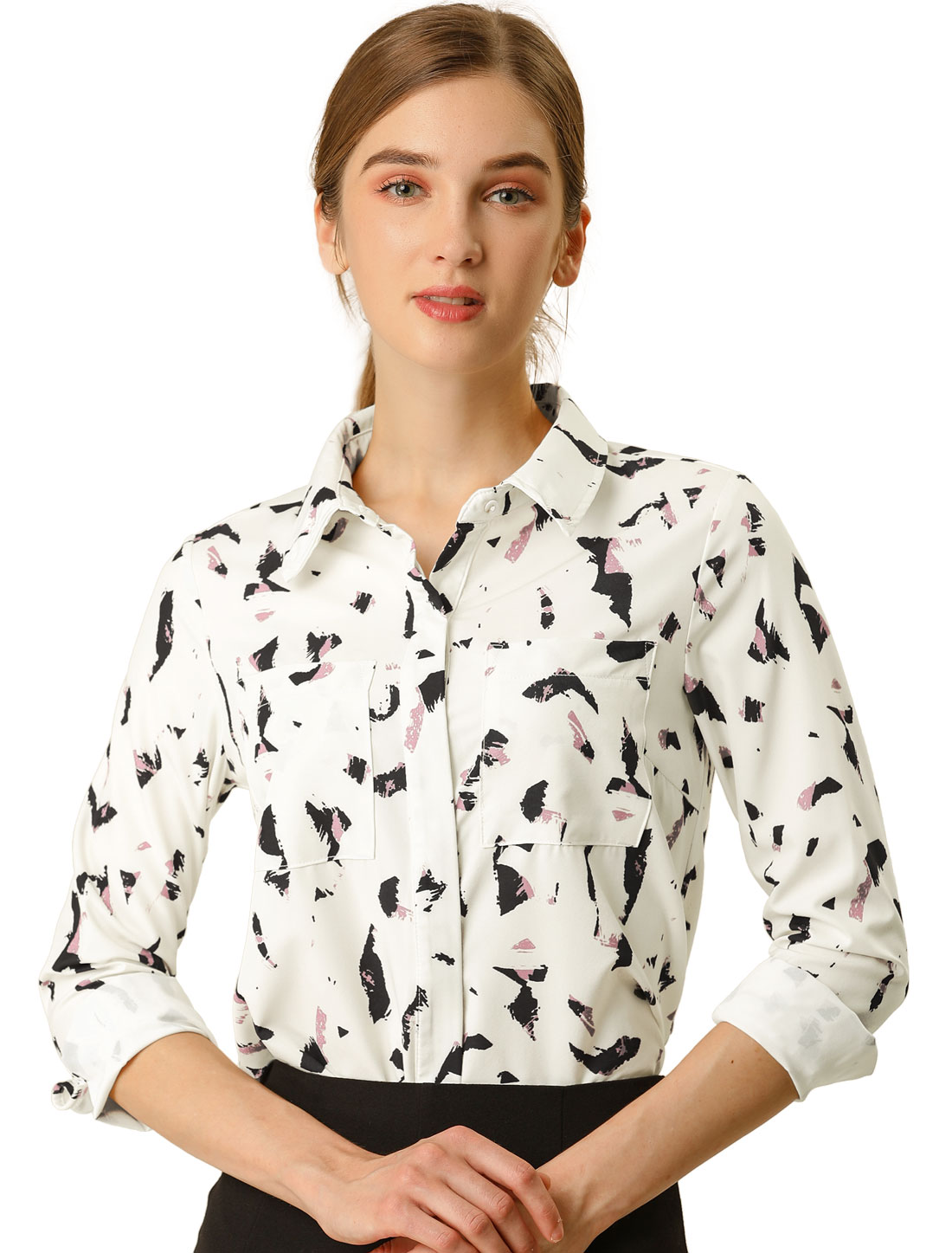 Allegra K Women's Button Down Long Sleeves Floral Shirt Cream White L