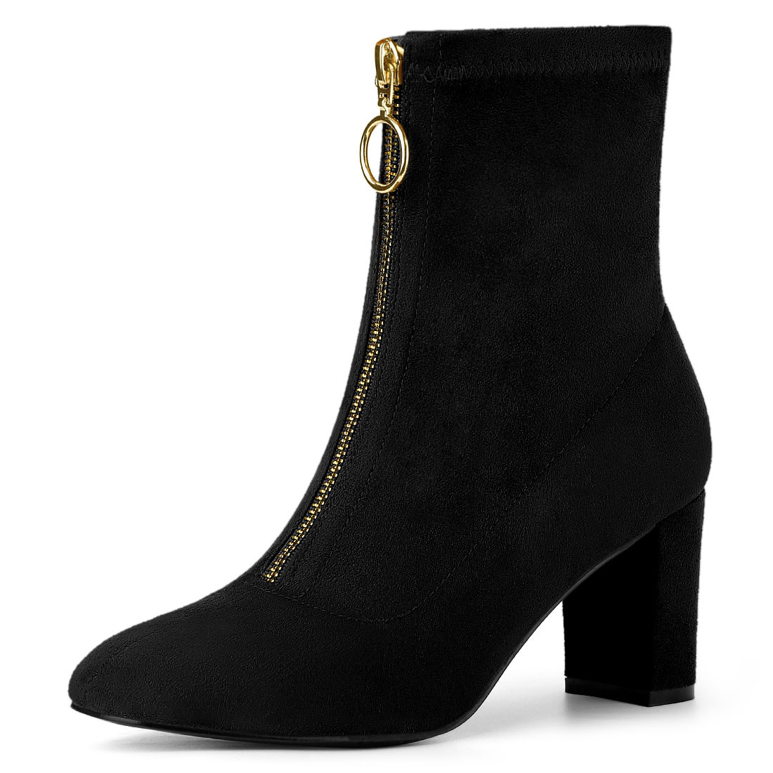 Allegra K Women's Front Zipper Chunky Heel Ankle Boots Black US 8